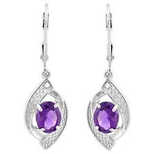 AMETHYST & WHITE DIAMOND EARRINGS SILVER .2.28 CWT! SUPERB BRIDAL WEAR WHITE FEB