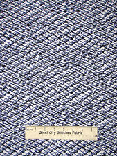 Printed Fish Net Cotton Fabric Benertex Neptunes Dream #05220 Blue White YARD
