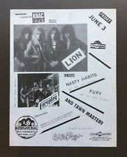 LION Vintage Flyer Ad For International Show With Nasty Habits & Fury 1980's L.A