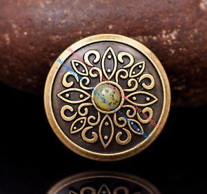 Lot 10pcs Vintage Brass Floral Emboss Leathercraft Keyring Wallet Conchos