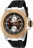New Mens Invicta 13998 Rose Gold Bezel Brown Sunray Dual Sub Dial 24 hour Watch