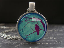 Silhouette Twilight Bird on a Branch Crow Petite Round Glass Pendant Necklace