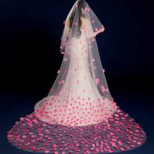 Women One-Layer Pink Petal Bridal Cathedral Veils Polyester Cut Edge Styles Veil