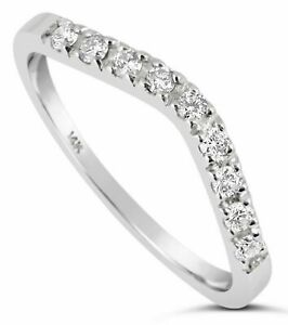 14K White Gold Simulated Diamond Wedding band Ring Curved 0.29 Ct F VVS1 Guard