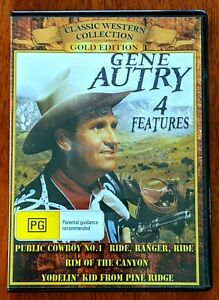 GENE AUTRY TV Classic Westerns 4 Features All Region DVD As New FREE SHIPPING