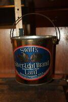 Antique SWIFT'S Silver Leaf Brand Lard 1906  TIN Can Pail