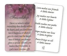 THERE'S A MIRACLE CALLED FRIENDSHIP - FRIEND - LAMINATED VERSE / PRAYER CARD