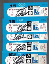 Eric Heiden Signed Set of 5 Lake Placid 1980 Winter Olympics Gold Medal Tickets