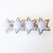 USA Hair Clip Claw Rhinestone Crystal Hairpin Jewel Pearl  Fashion Purple 02