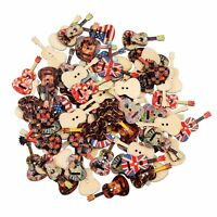 Vintage 50Pcs Wooden Mixed Guitar Buttons 2 Holes Sewing Scrapbooking Crafts DIY