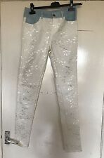 UNBRANDED, WAIST 30 INCHES, CREAM & BLUE  SKINNY LEG JEANS, PRE-LOVED