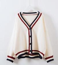 Korean Women Stripe V Collar Cardigan Sweater Knitting Loose Coat Jacket 2 Color