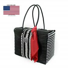 GO2 Handmade Woven Recycled Plastic Tote in Black and White ~ Beach Tote LARGE