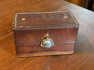 Vintage Quality Leather Mini Bar Flask Set Travel Decanter