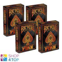 4 DECKS BICYCLE FIRE SPIELKARTEN ELEMENTE SERIE ORANGE ROT NEU