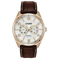 Citizen Eco-Drive Men's Rose Gold Tone Brown Leather Band 43mm Watch AO9023-01A