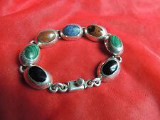 Vintage Beautiful Sterling Silver Mexico Taxco Multi Color Bracelet 38.9 grams