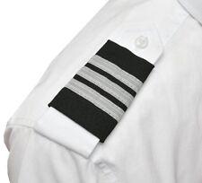 3 Bars Silver Uniform Pilot Epaulet Sliders First Officer Epaulettes Mylar Black