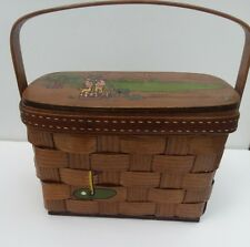 """Vintage Basket Purse Box """"The Treasure Chest"""" Signed Caro Nan Hand Painted Golf"""