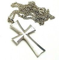 Vintage Hallmarked London 1978 Solid Sterling Silver Cross Pendant Necklace