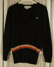 """FRED PERRY Vintage Extrafine Merino Wool Jumper 8 / 35"""" Chest Patterned Sweater"""