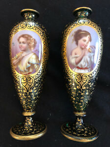 Pair Of Antique 19th C Bohemian Moser Enameled & Gilded Glass Portrait Vases