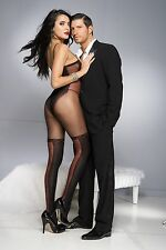 Black Faux Teddy Sheer Opaque Red Lace Up Seams Bodystocking Sexy Lingerie P1028