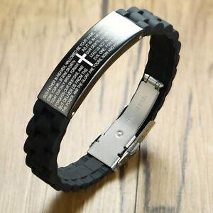 Mens Stainless Steel Black Cross Silver English Bible Lords Prayer Link Bracelet