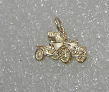 14K YELLOW GOLD ANTIQUE CONVERTIBLE CAR MOTOR COACH NECKLACE PENDANT N231-T9