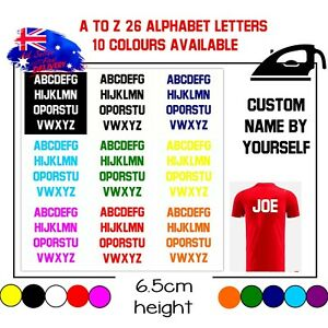 Iron Football Soccer Jersey Name Vinyl A to Z 26 Alphabet Letters 6.5cm height