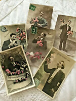 Lot 6 Vtg French France Postcard RPPC Dandy Edwardian Men Romance Irisette 008