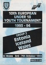 UEFA Under 18 Youth Tournament 1993 Group 2 Estonia Iceland Wales @ Wrexham