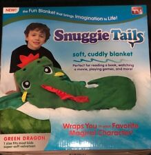 AS SEEN ON TV KIDS SNUGGIE TAILS SUPER SOFT BLANKET GREEN DRAGON BRAND NEW