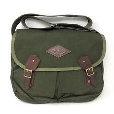 Diamond Bluff Battenkill Mens Green Brown Canvas Leather Messenger Carryall Bag
