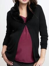 GAP MATERNITY Black Removable Fur Collar Sweater L NWT Womans (MSRP $79.95)