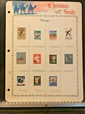 11 Worldwide Christmas Seals Hinged on Display Page France India Norway - #5756