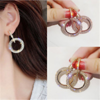 Luxury Round Earrings Women Crystal Geometric Hoop Earrings Jewelry Gift 1Pair