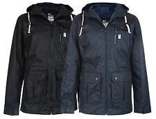 Crosshatch Men's Shayter Hooded Cotton Jacket S M L XL XXL Blue & Black