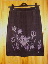 PRINCIPLES dark purple floral corduroy midi knee straight pencil skirt 10 38