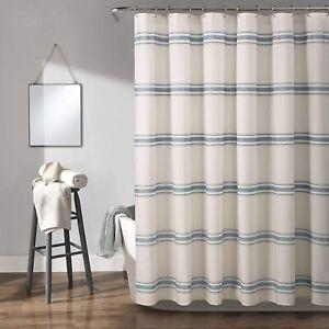 """Lush Decor, Blue Farmhouse Stripe Shower Curtain, 72"""" x 72"""""""