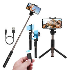 Foldable Bluetooth Selfie Stick Tripod Remote Control 360° Clamp for iPhone X S9 for Samsung Galaxy Note 8 Black