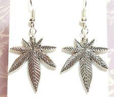 MARIJUANA_Charm Earring on Silver Plated Hooks_Pot Weed Cannabis Leaf Leaves_28E
