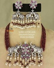 Bollywood South Indian Style German Silver Gold Necklace Set USA