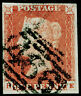 SG8, 1d red-brown PLATE 80, USED. Cat £30. 4 MARGINS.