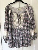 PORRIDGE - Anthropologie Lace Trimmed Peasant Top, Shirt, Size Medium