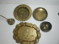 """Vintage Etched Brass Bowl / tray bell """"India"""" Lot of 5 flower/ leaf pattern"""