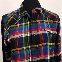 Ralph Lauren Womens Western Shirt Blouse Size 14 Long Sleeve SLIM FIT Check