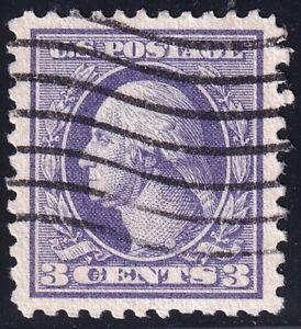 US STAMP #529 – 1918 3c Washington, violet, perf 11, type III USED  XFS SUPERB
