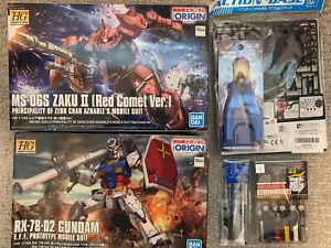 Gundum Origin RX-78-2 And Char's Zaku 1/144 Kits With Markers And Nipper