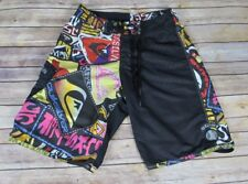 Vintage 90s Quiksilver Vivid Logo Print Board Shorts Swim Trunks Size 29 EUC